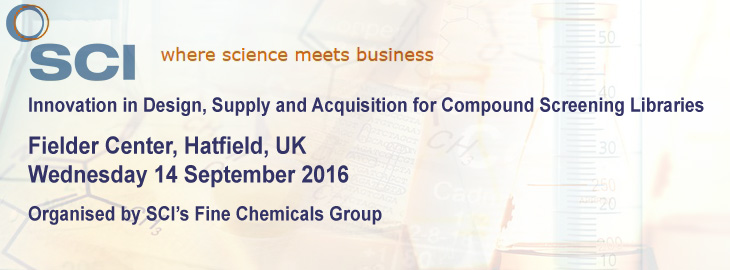 Meet us at the SCI meeting in Hatfield - Innovation in Design, Supply and Acq. for Compound Screening Libraries